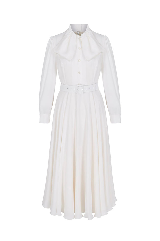 Allison Pure Dress Ivory Silk Crepe