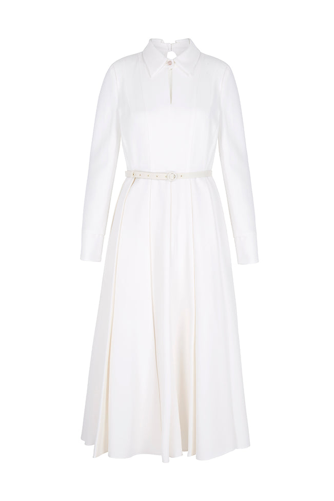 Adelyn Couture White Silk Shirt Dress