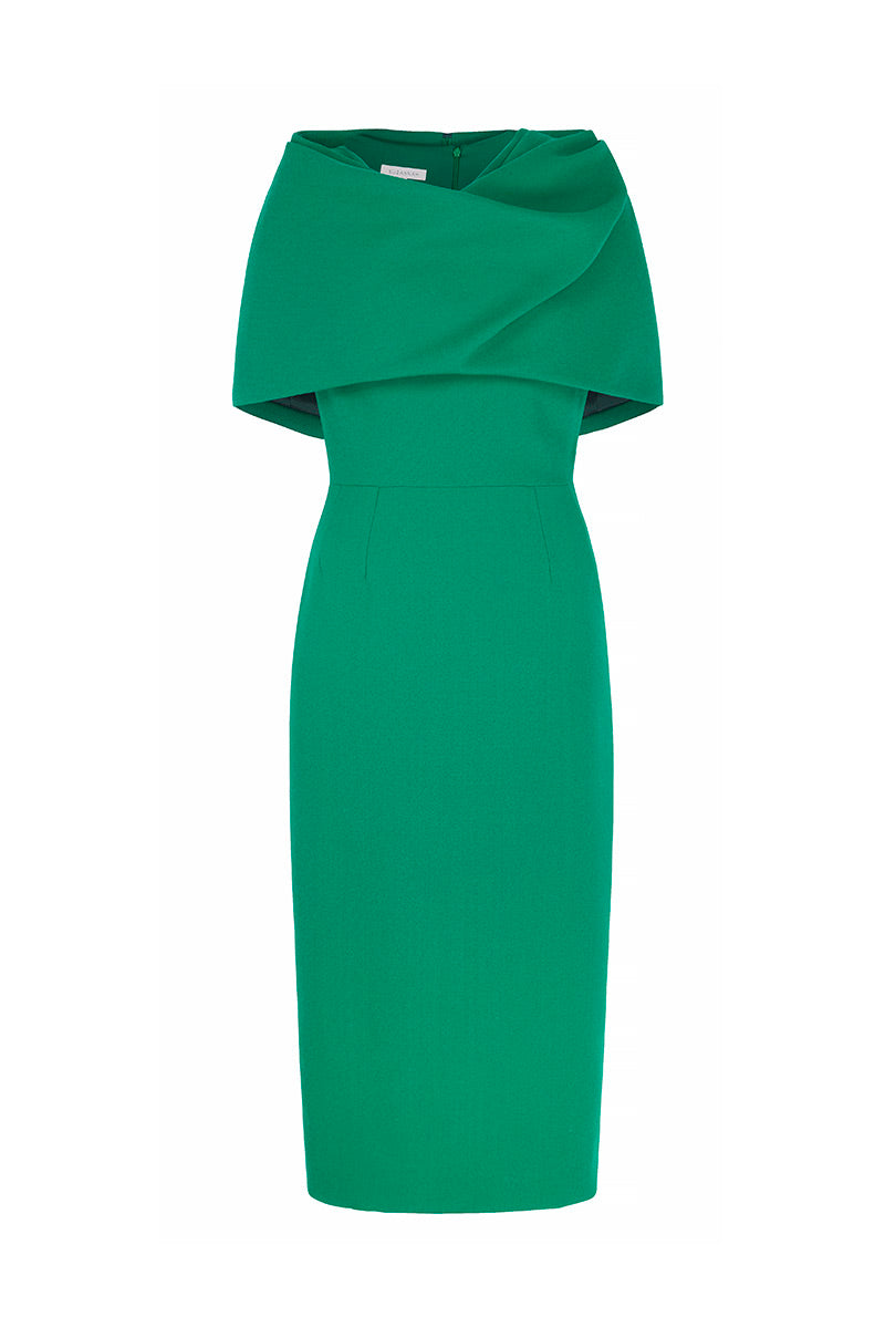 Aimee Dress and Capelet Drape Emerald Green