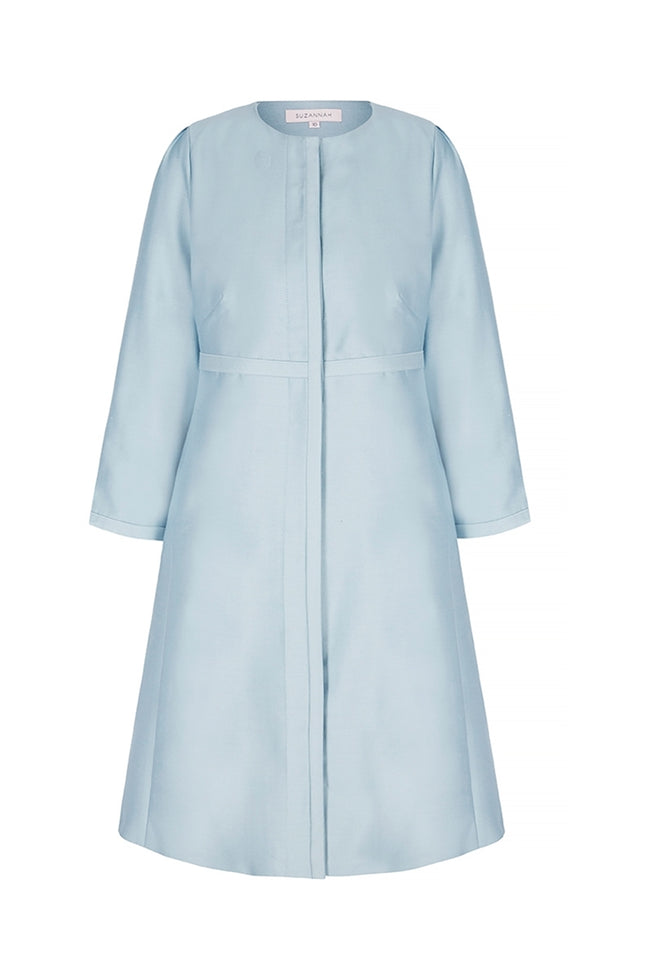 Trapeze Line Dress Coat Alice Blue