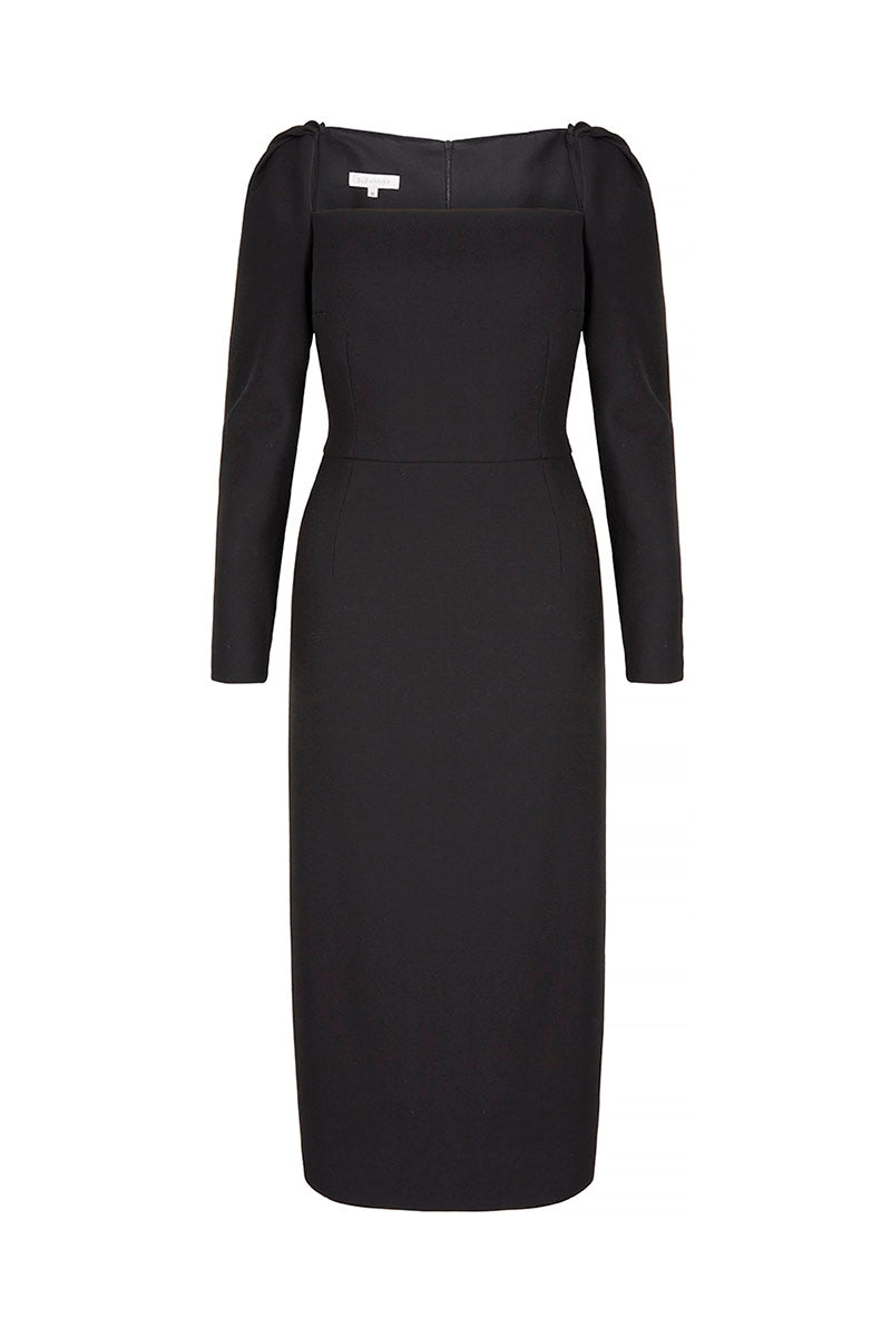 Alice Dress Black Wool Crepe