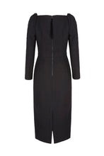 Load image into Gallery viewer, Alice Dress Black Wool Crepe