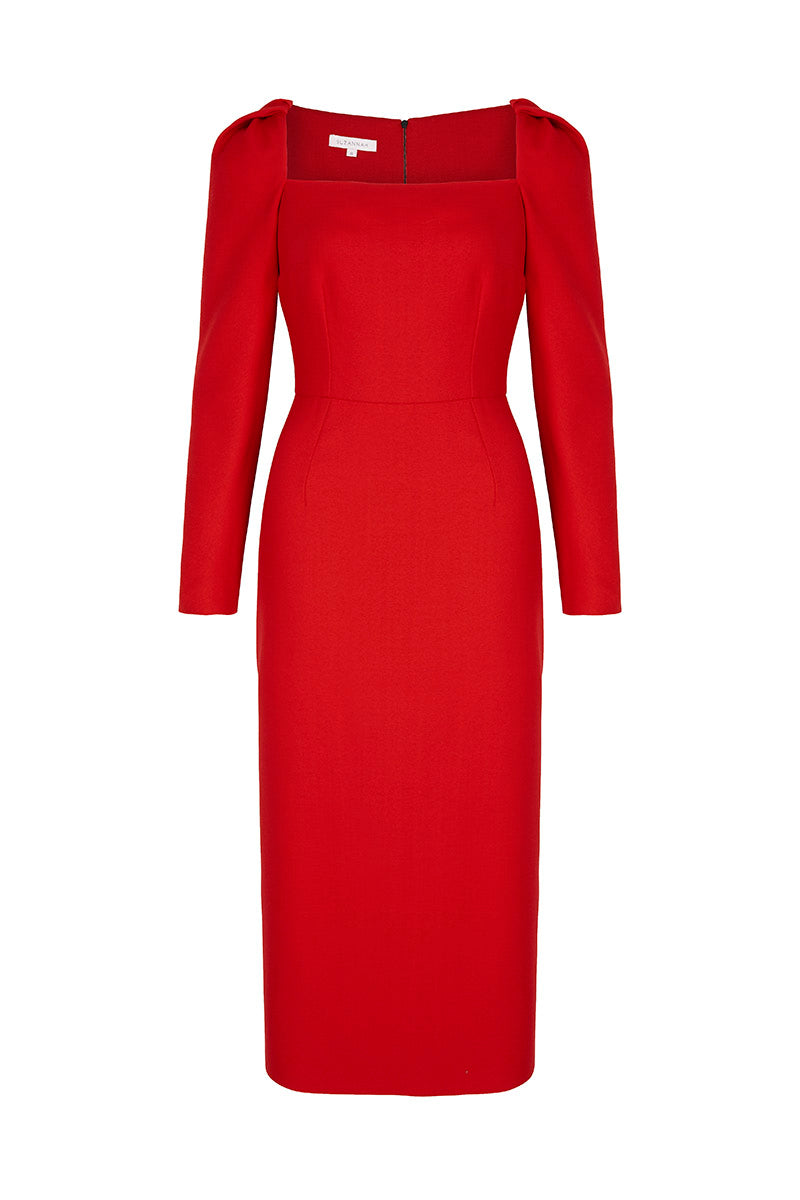 Alice Dress Red Wool Crepe