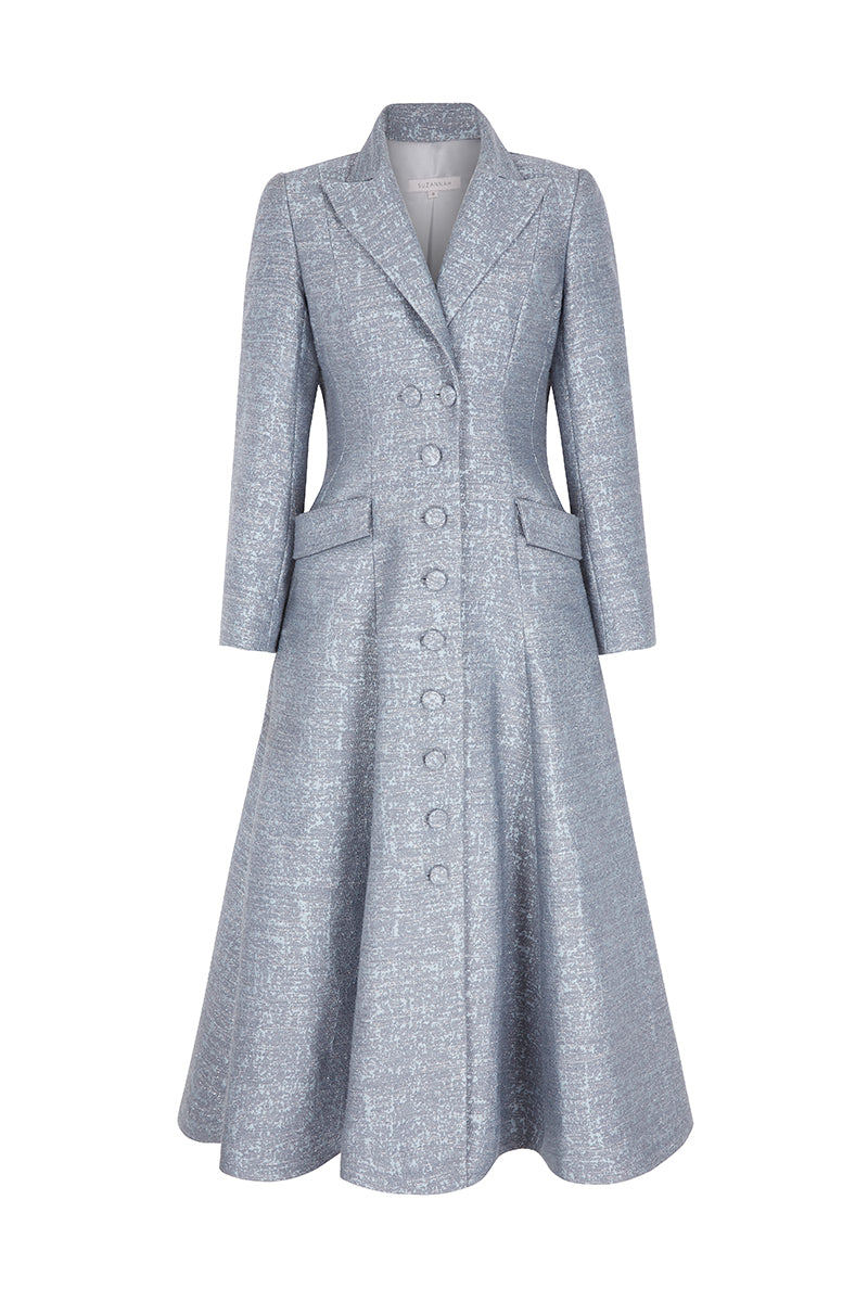 Annie Coat Dress Moonstone Blue Jacquard