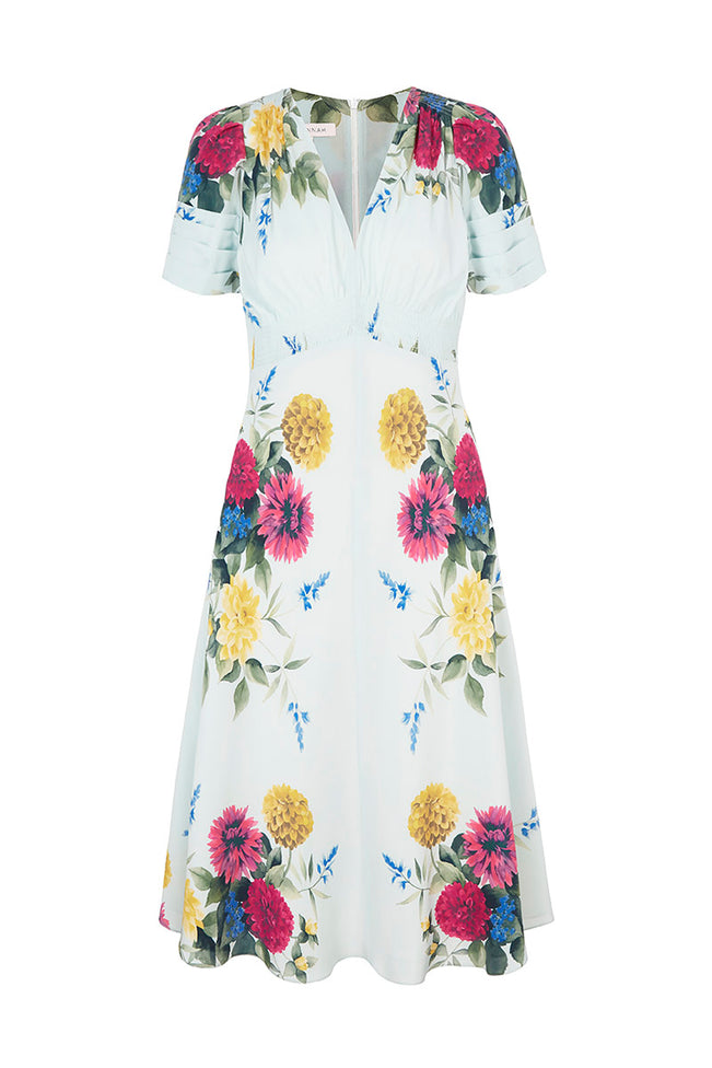 Silk Tea Dress Blue Dahlia