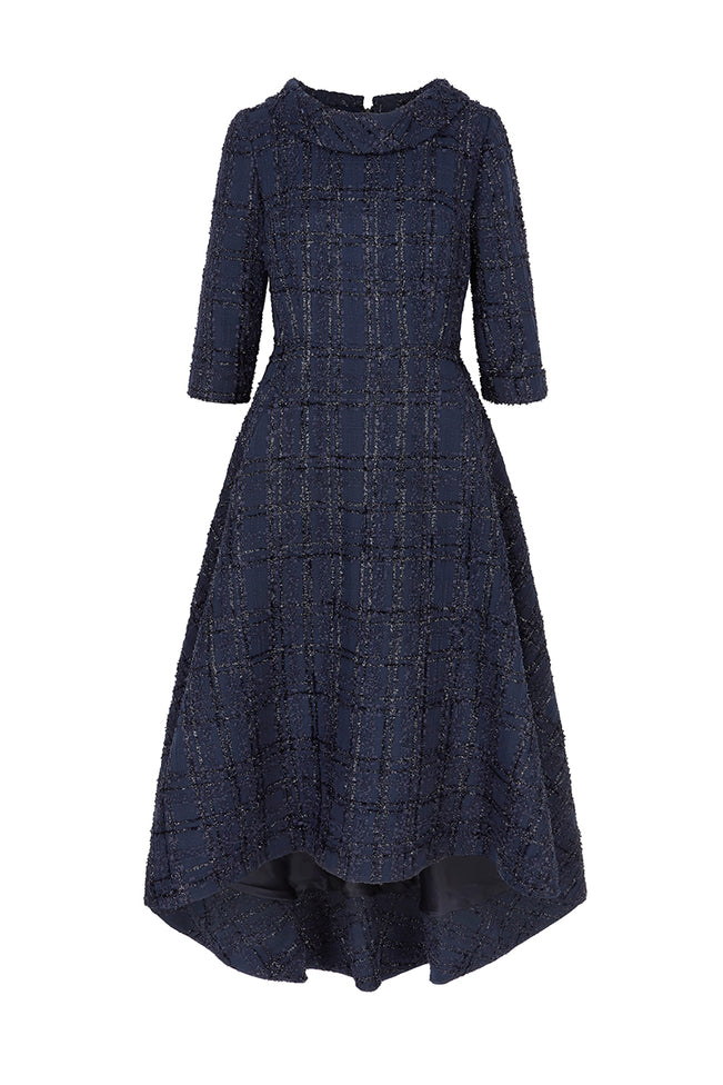 Blythe Midi Metallic Navy Tweed