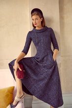 Load image into Gallery viewer, Blythe Midi Metallic Navy Tweed