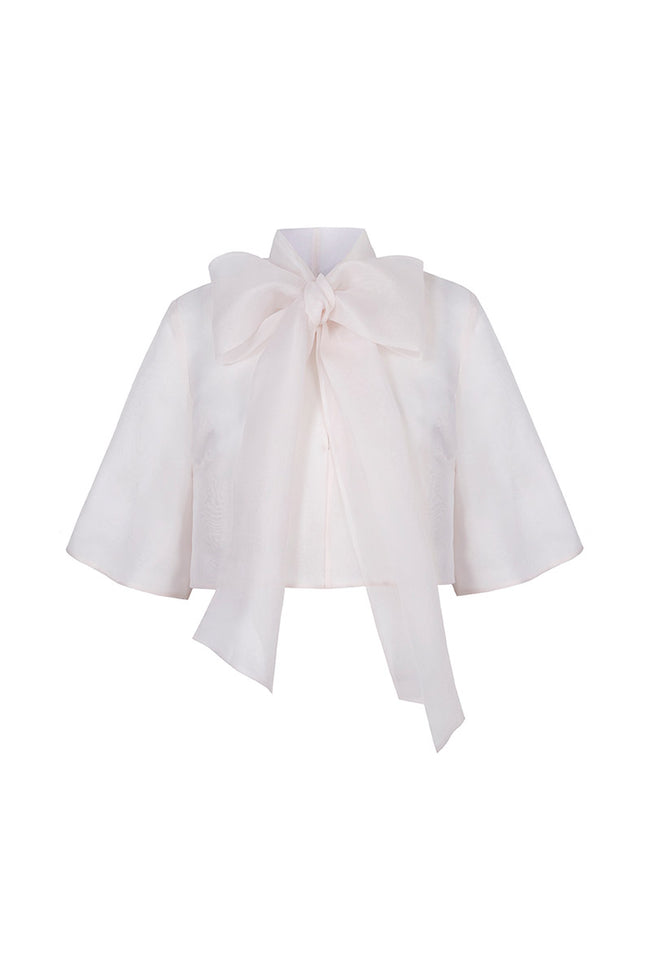 Eleanor Silk Organza Bow Jacket Pink