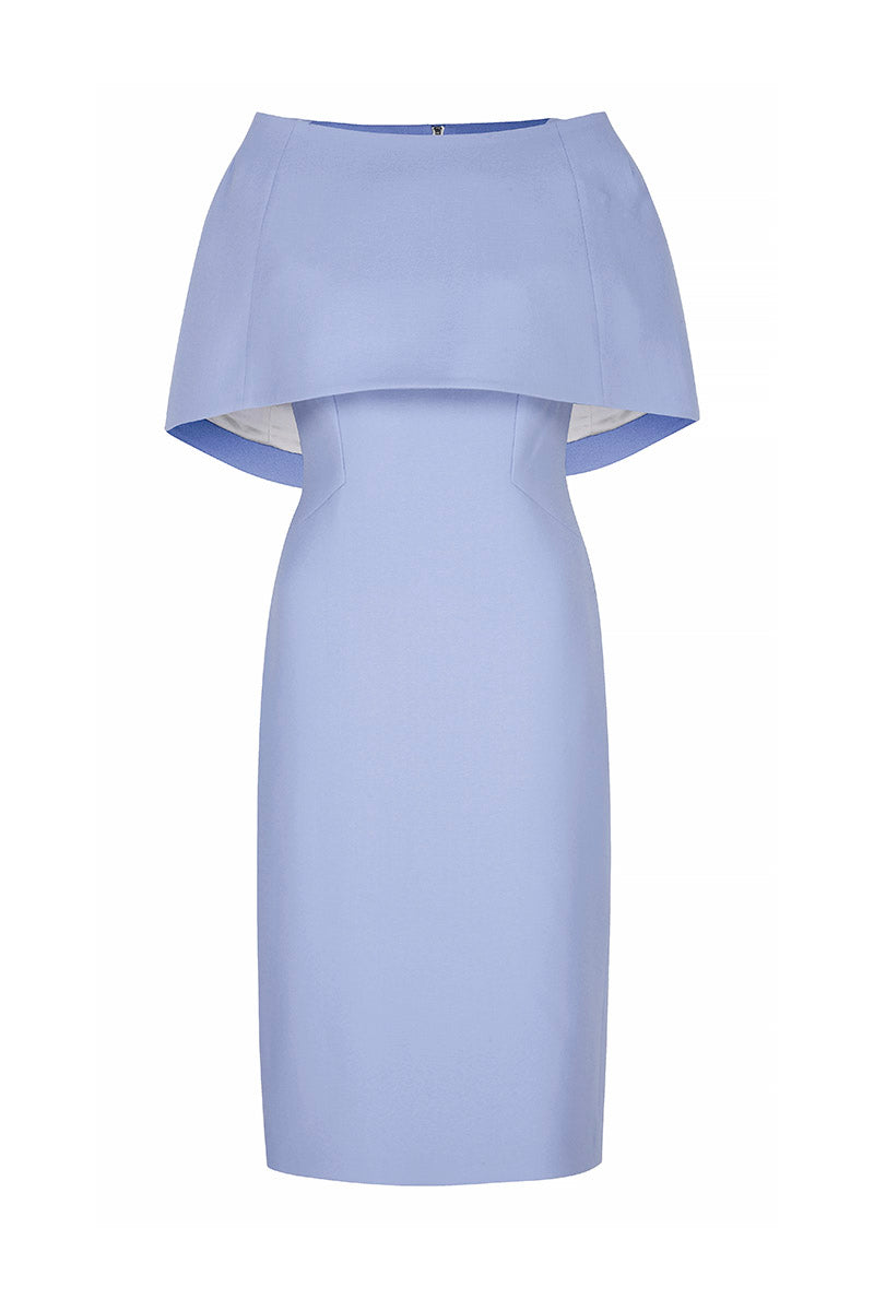 Colette Sleek and Capelet Dress Cornflower Wool Crepe