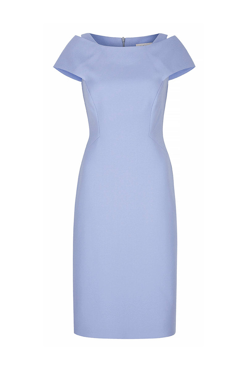 Colette Sleek Dress Cornflower Wool Crepe