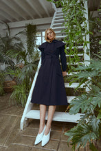 Load image into Gallery viewer, Capey Trench Coat  Navy Sustainable