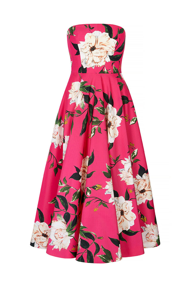 Carla Strapless Gown Hot Pink