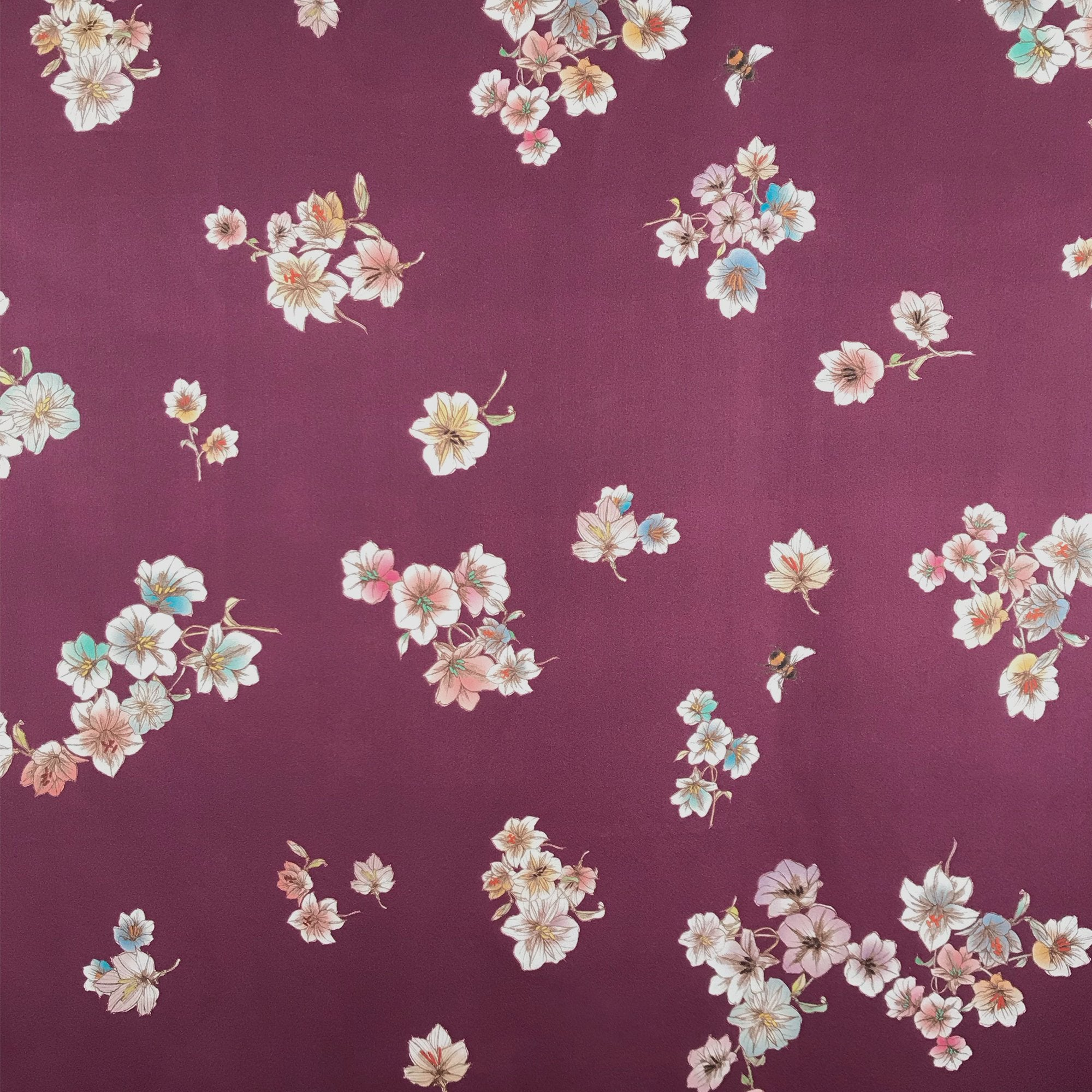 Claret Floral With Bee Silk Satin