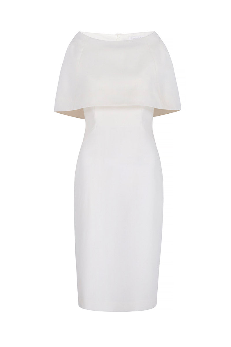 Colette Sleek and Capelet Dress Ivory Wool Crepe