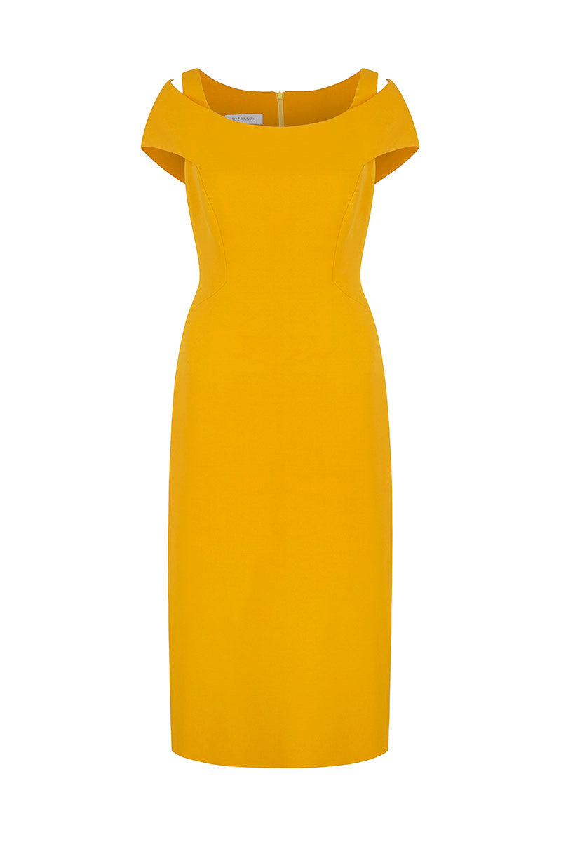 Colette Structured Cocktail Shift Dress Amber