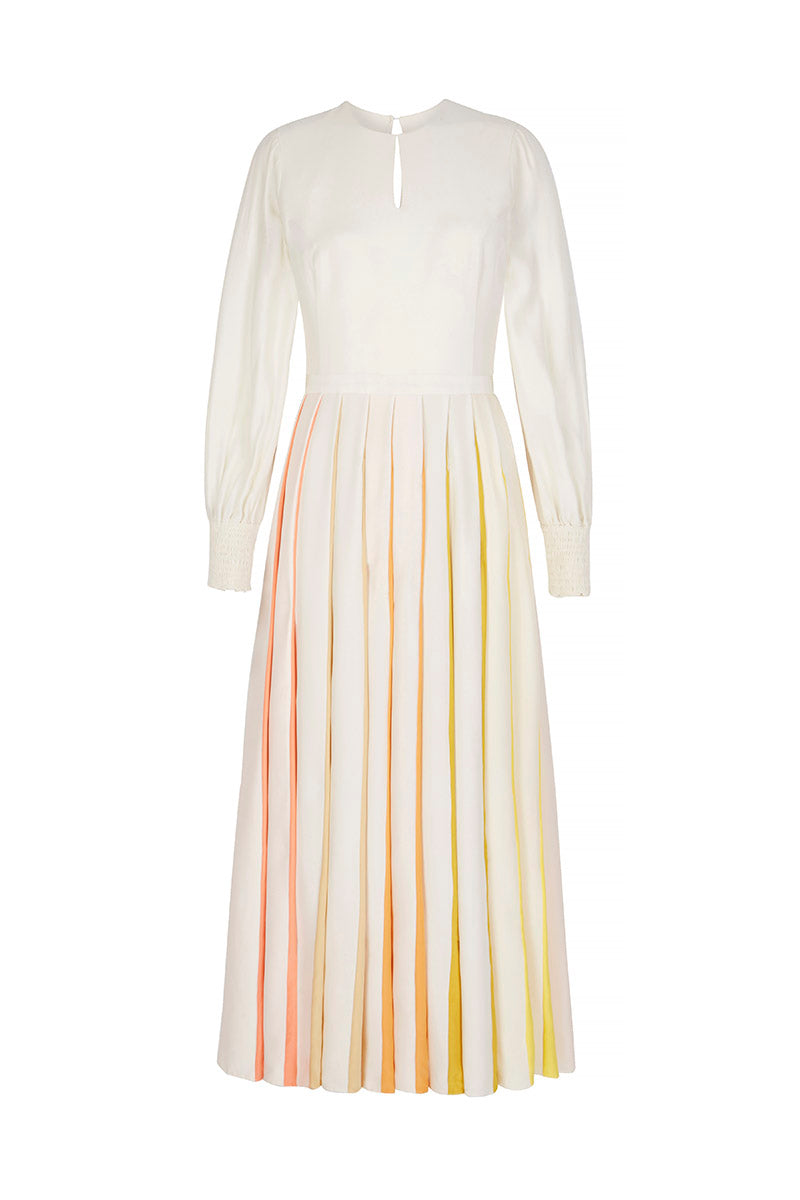 Spring Rainbow Pleat Midi Dress