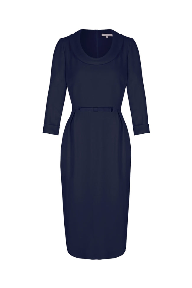 Soft Cowl Neck Wool Crepe Dress Navy