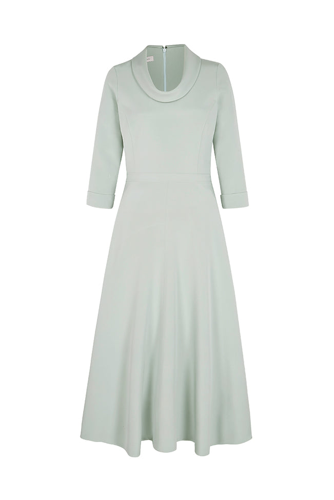 Silk Cowl Neck Riding Dress Eucalyptus