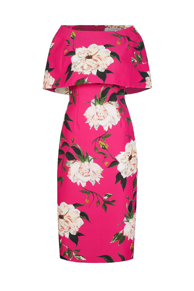 Demi Shift Fine Art Floral With Capelet Hot Pink