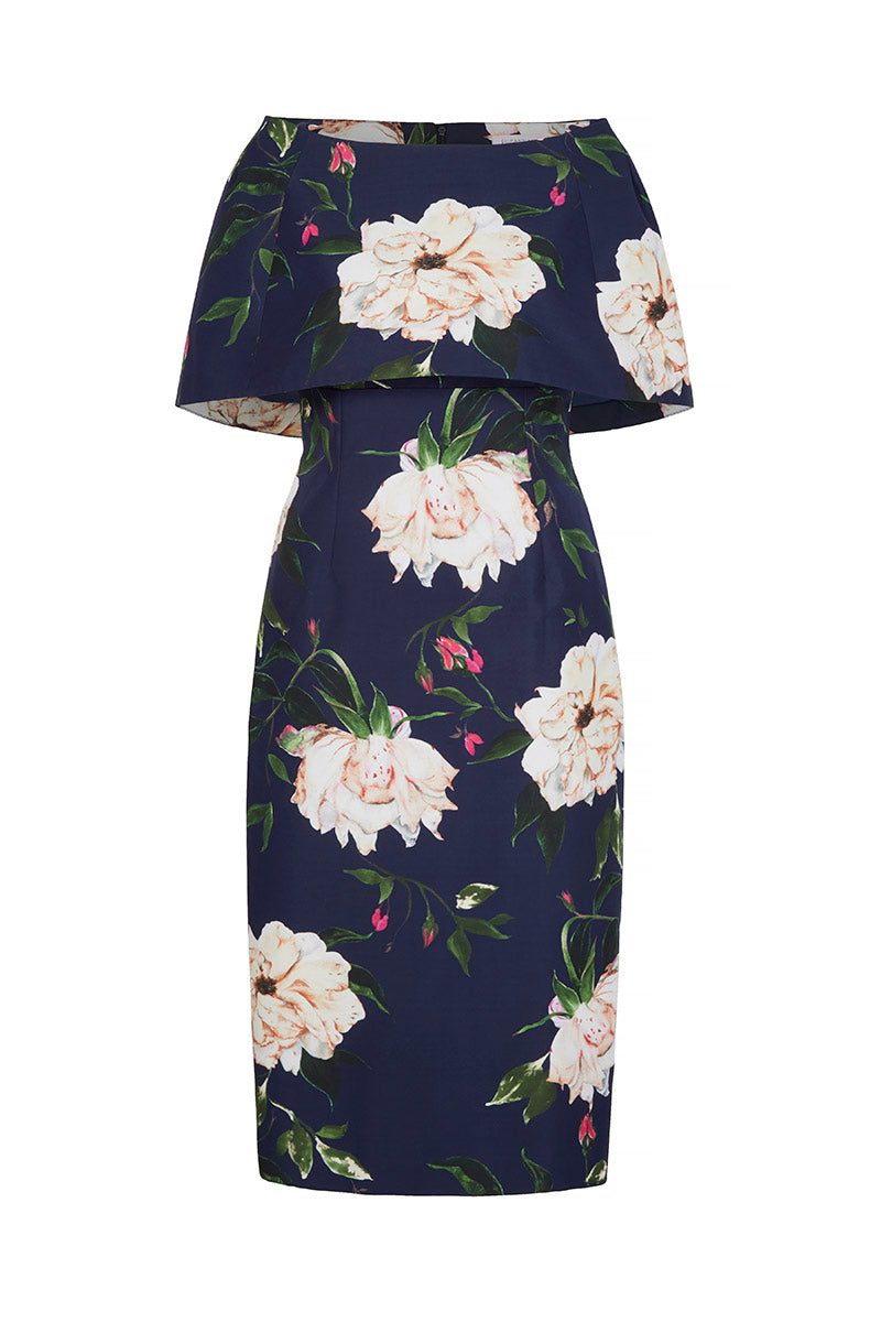 Demi Shift Dress Fine Art Floral With Capelet Navy