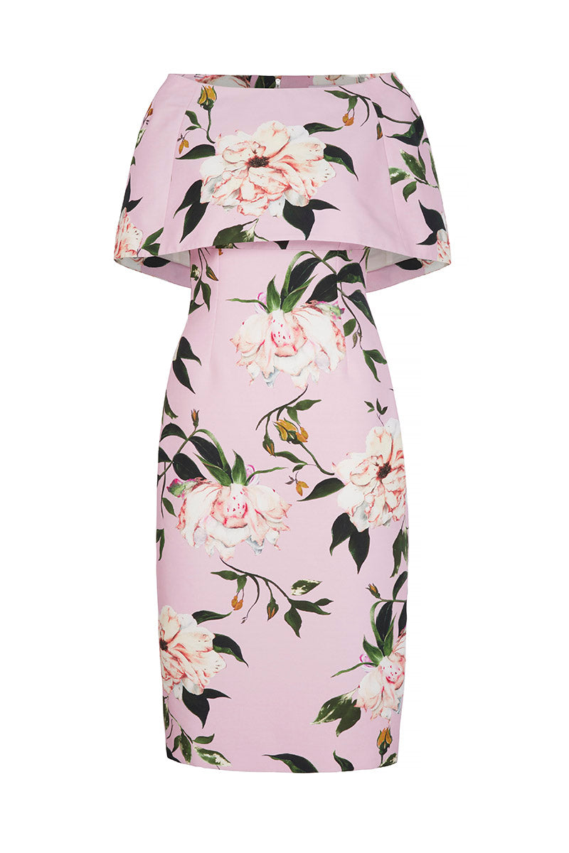 Demi Shift Fine Art Floral With Capelet Soft Pink
