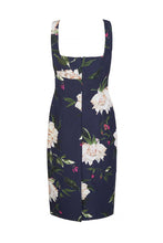 Load image into Gallery viewer, Demi Shift Dress Fine Art Floral With Capelet Navy