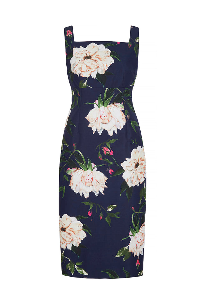 Demi Shift Dress Fine Art Floral Navy