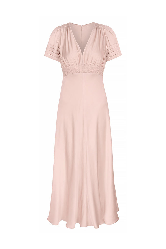 Luxe Silk Tea Dress Tea Rose