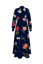 Load image into Gallery viewer, Ethereal Floral Silk Midi Tea Dress Navy