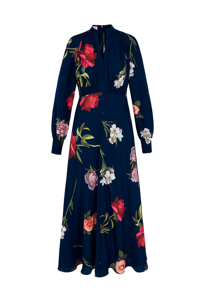 Ethereal Floral Silk Midi Tea Dress Navy