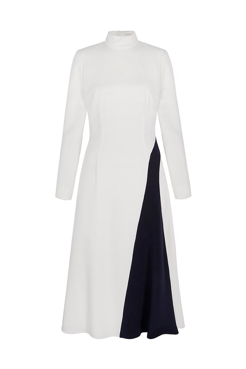 Evangeline White and Navy Dress