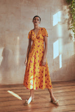 Load image into Gallery viewer, Geraniums Silk Tea Dress Amber Yellow
