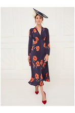 Load image into Gallery viewer, Grandad Dress Navy Poppy Midi