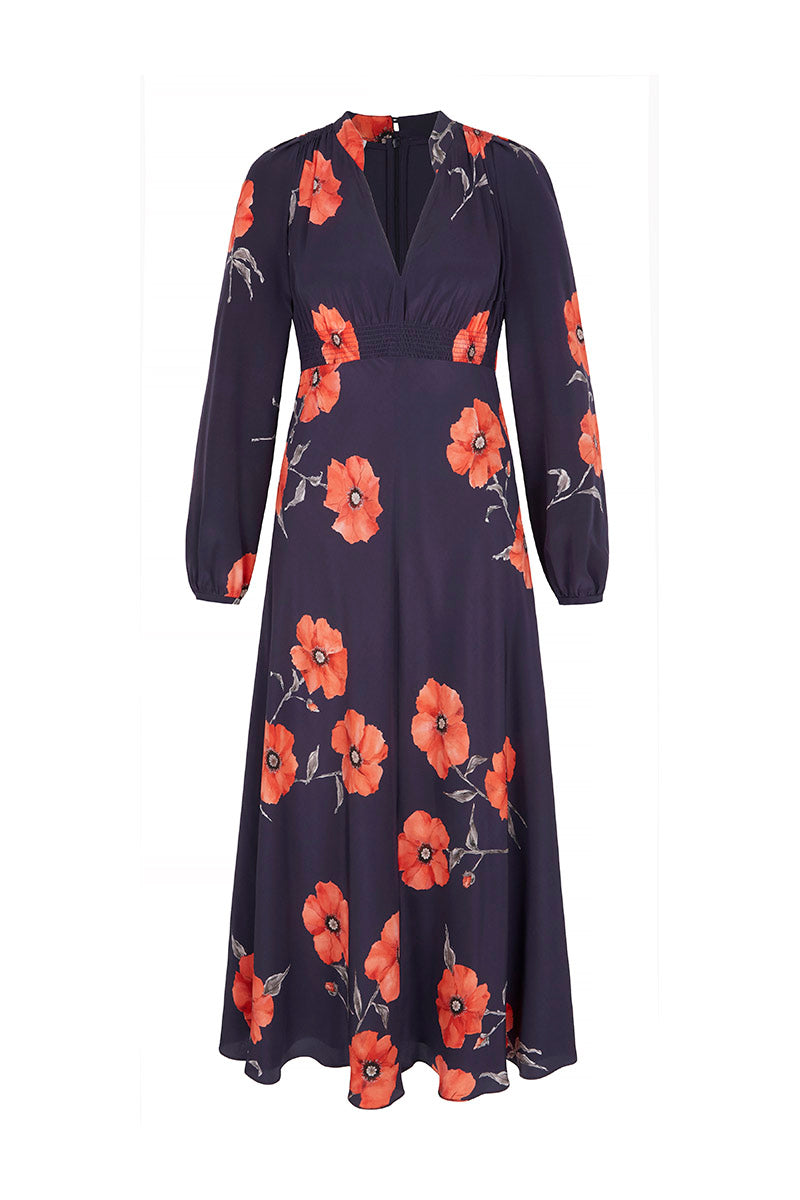 Grandad Dress Navy Poppy Midi