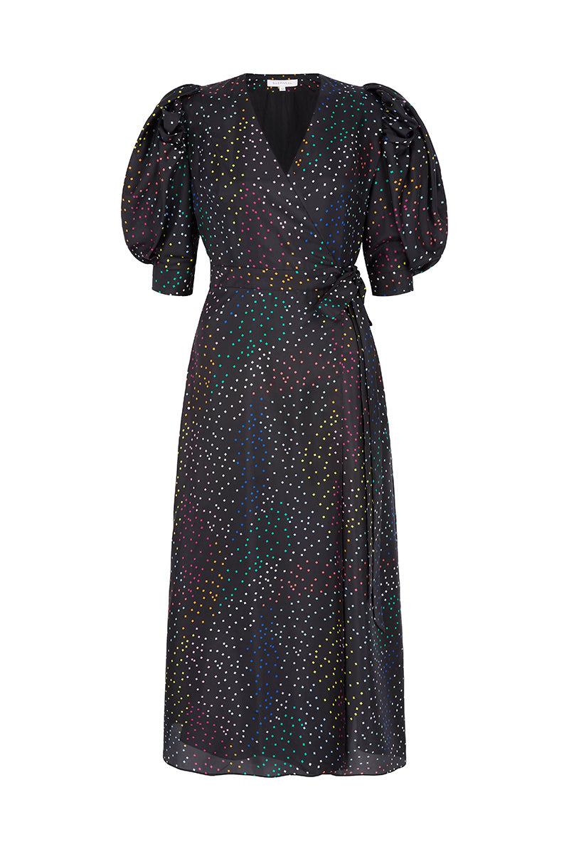 Hebe Wrap Dress Rainbow Confetti