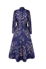 Load image into Gallery viewer, Hunter Coat Dress Navy Japanese Flowers