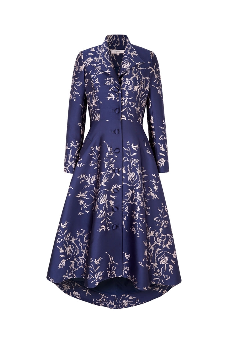 Hunter Coat Navy Japanese Flowers