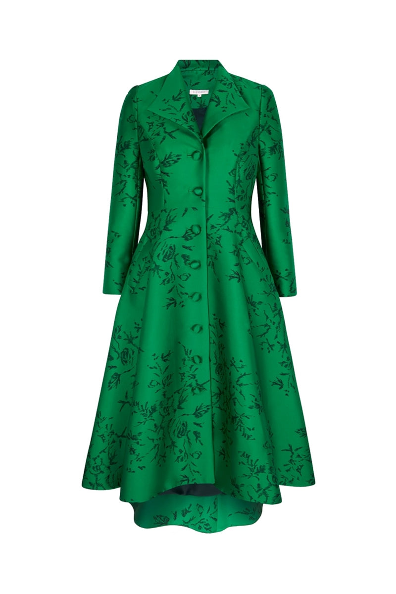 Hunter Coat  Emerald Japanese Flowers