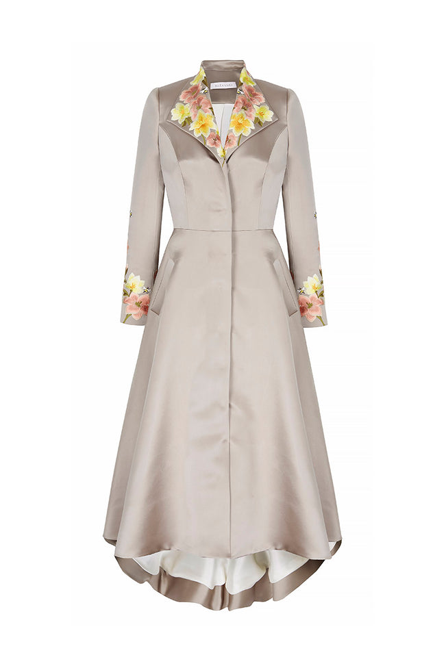 Embroidered Duchesse Coat-Dress
