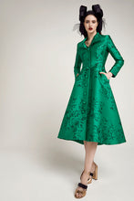 Load image into Gallery viewer, Hunter Coat  Dress Emerald Japanese Flowers