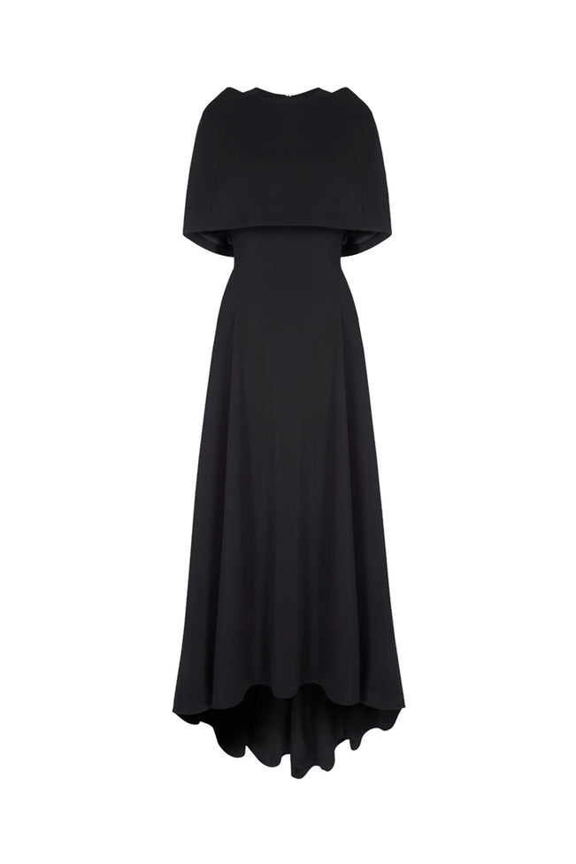 Long Showstopper Capelet Dress Black