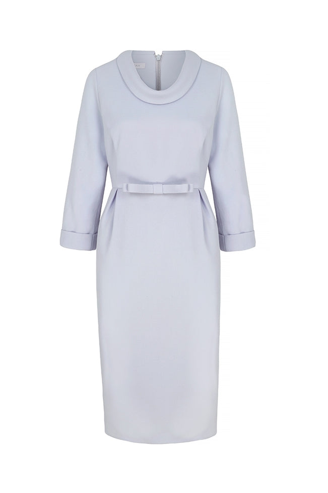 Soft Cowl Neck Wool Crepe Dress Powder Blue