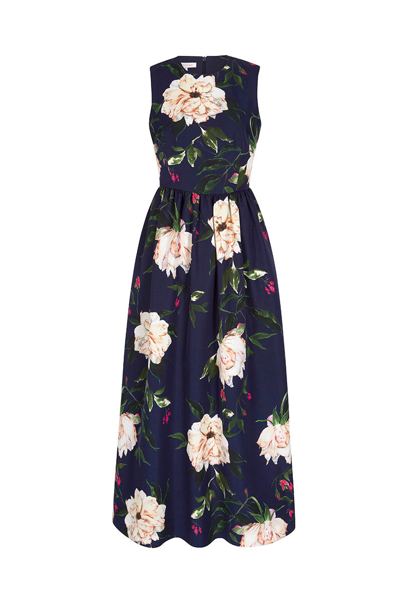 Margarite Dress  Fine Art Floral Navy