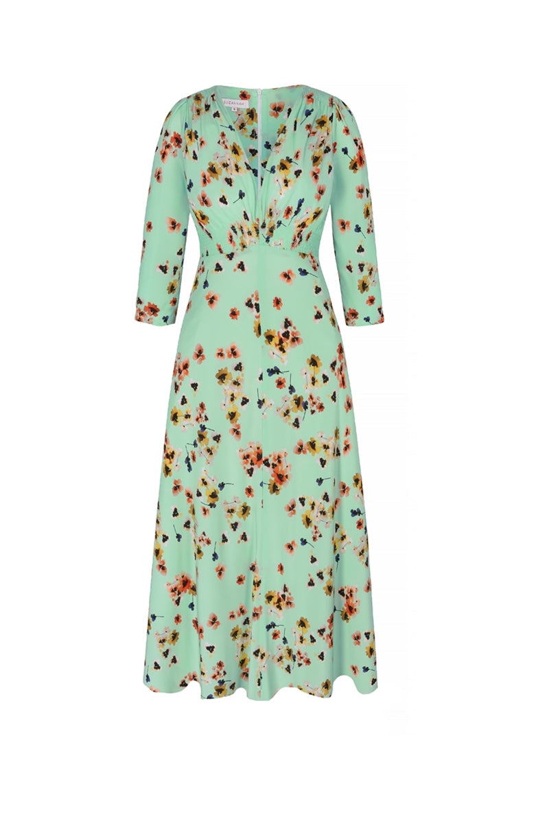 Midi Silk Tea Dress Mint Pansy Print