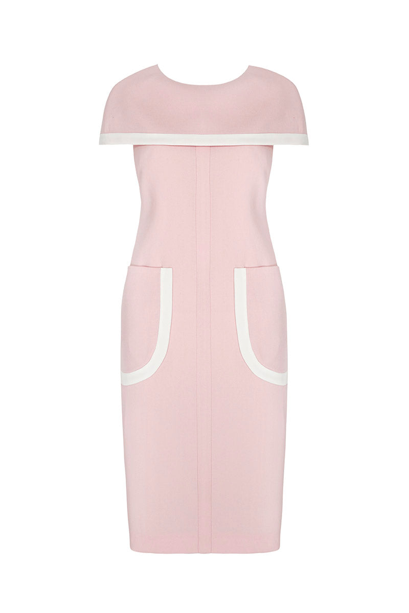 Morgan Cape Shift Dress Pink and Ivory