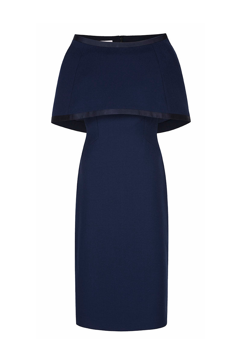 Colette Sleek and Capelet Dress Navy Blue Wool Crepe