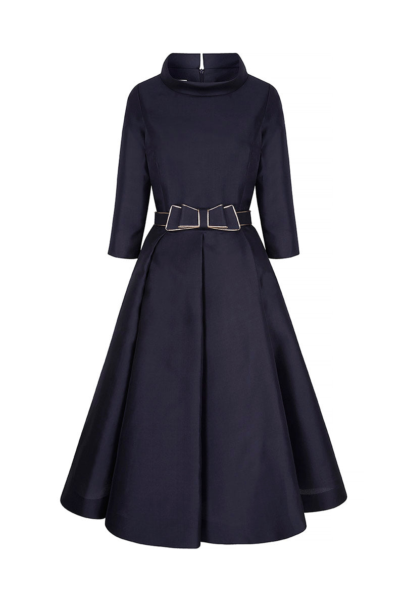 Silk Gazar Obsession Ballerina Dress Navy Blue