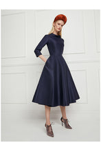 Load image into Gallery viewer, Silk Gazar Obsession Ballerina Dress Navy Blue