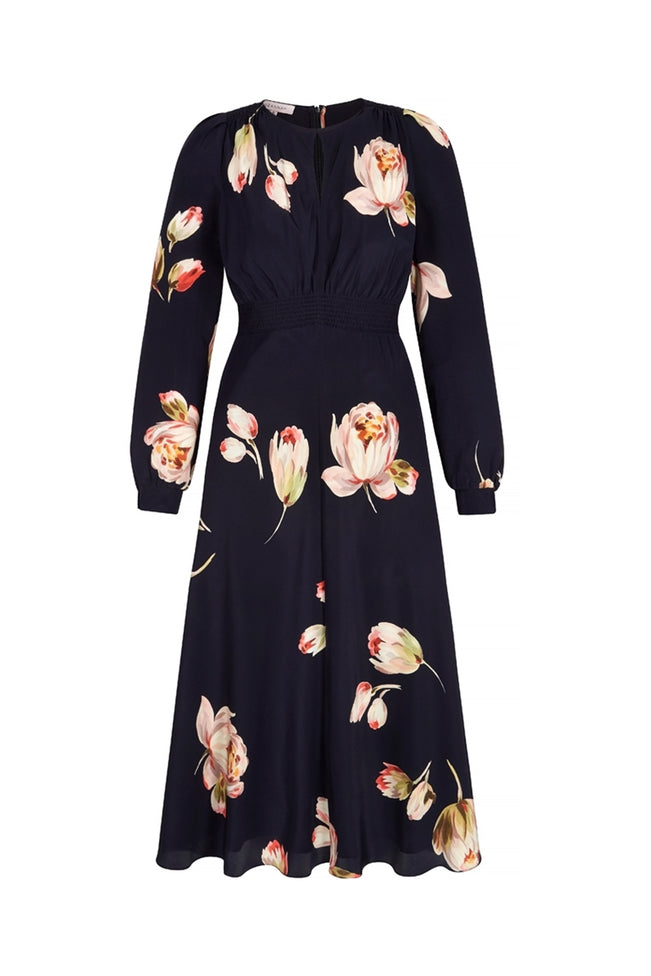 Odette Peony Silk Tea Dress Navy
