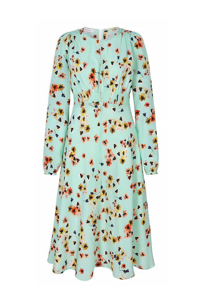 Odette Tea Dress Mint Pansy
